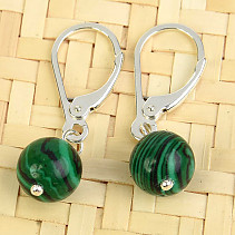 Malachite (imitation) earrings round 8mm Ag fastening