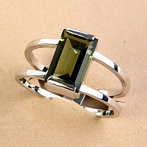Moldavite ring rectangle standard cut Ag 925/1000