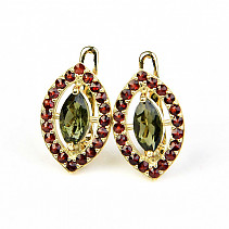 Moldavite and garnet earrings 7 x 4mm gold standard Au 585/1000 14K 6,18g
