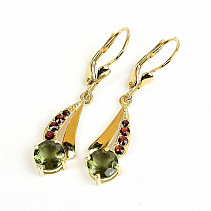 Moldavite and garnets luxury earrings 7mm gold standard Au 585/1000 14K 4.09g