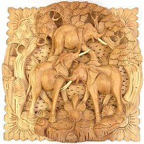 Elephants carved relief 30cm