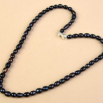 Dark Pearls Necklace Oval Ag Closure (48cm)