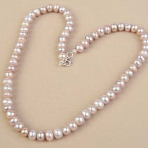 Pink Pearl Necklace Larger Buttons Ag Fastening (52cm)