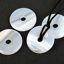 White agate pendant donut on leather 30mm