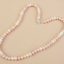 Pearls rainbow mix Ag fastening 45cm