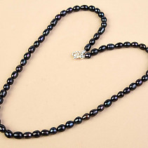 Dark Pearls Necklace Oval Ag Closure (52cm)