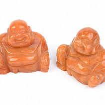 Calcite orange buddha carving