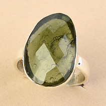 Ring cut moldavite checker cut Ag 925/1000 size 56 - 4.3g