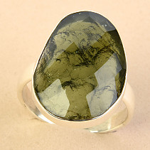 Ring cut moldavite checker cut Ag 925/1000 size 60 - 5.3g