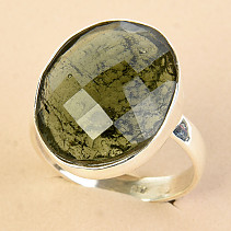 Ring cut moldavite checker cut Ag 925/1000 size 61 - 5.5g
