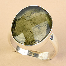 Ring cut moldavite checker cut Ag 925/1000 size 54 - 4g