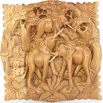 Elephants carving embossed 30cm