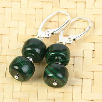 Malachite earrings buttons Ag fastening