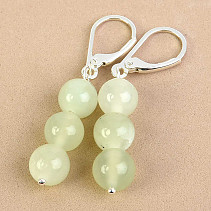 Earrings jadeit balls Ag fastening