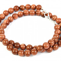 Avanturin synthetic necklace round 8mm 46cm