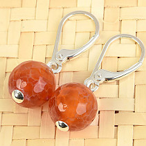 Agate fire earrings round cut 10mm Ag fastening