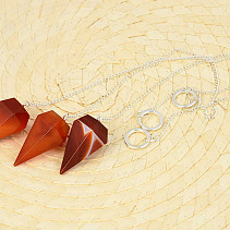 Carnelian and agate pendulum long