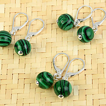 Malachite (imitation) earrings round 10mm Ag fastening
