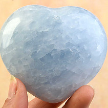 Smooth heart calcite blue 70mm