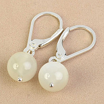 Moonstone earrings round 8mm Ag fastening