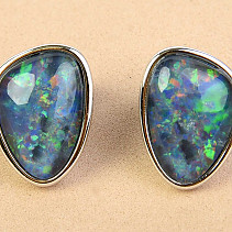 Australian boulder opal earrings silver Ag 925/1000 2.7g