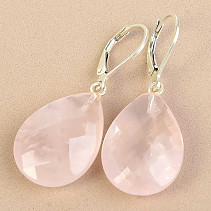 Rose quartz earrings drops cut 21 x 15mm Ag fastening