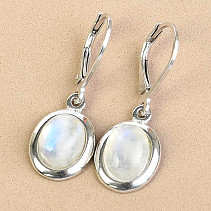 Moonstone earrings oval mugle Ag 925/1000