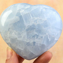 Smooth heart calcite blue 76mm