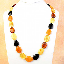 Amber oval necklace mix 67cm