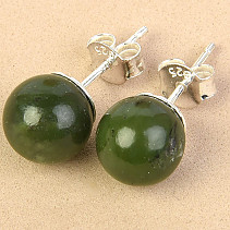 Earrings Canadian jade beads 8mm Ag silver