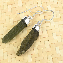 Earrings natural moldavite Ag 925/1000 4.39g