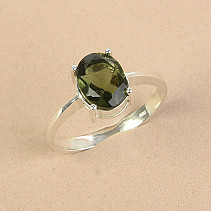 Ring moldavite 7 x 9mm oval Ag 925/1000