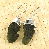 Earrings natural moldavite Ag 925/1000 5.94g