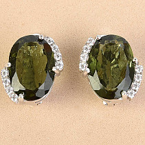 Moldavite with zircons earrings oval cut standard 13x9mm Ag 925/1000 + Rh