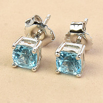 Topaz earrings square 5mm standard cut Ag 925/1000