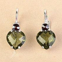 Moldavite and garnet earrings heart 8 x 8mm checker top cut Ag 925/1000 + Rh