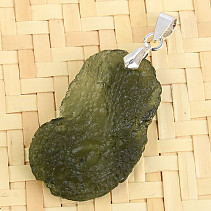 Natural moldavite necklace Ag pendant 4.6g