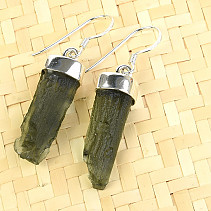 Earrings natural moldavite Ag 925/1000 5.67g
