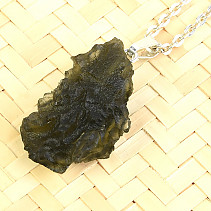 Natural moldavite necklace Ag pendant 3.8g 32mm