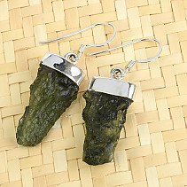 Earrings natural moldavite Ag 925/1000 5.52g