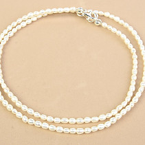 White pearls necklace tiny ovals Ag fastening