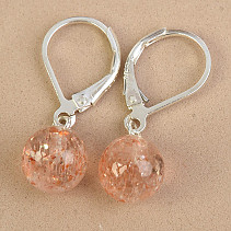 Sunstone earrings drops Ag fastening