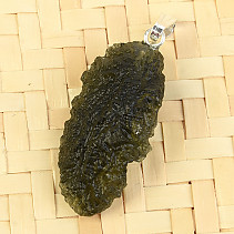 Natural moldavite necklace Ag pendant 2.9g
