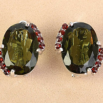 Moldavite with garnet earrings oval cut stand 13x9mm Ag 925/1000 + Rh