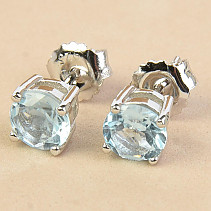 Topaz round earrings 6mm standard cut Ag 925/1000