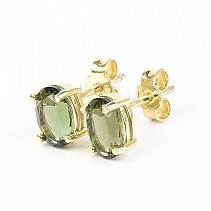 Moldavite earrings 7x5mm standard cut gold Au 585/1000 14K
