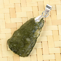 Pendant with moldavite Ag 2.3g