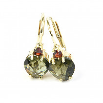 Earrings moldavite and garnet checker top cut heart 7 x 7mm gold 14K Au 585/1000 2,40g