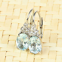 Topaz swiss blue earrings + zircons Ag 925/1000