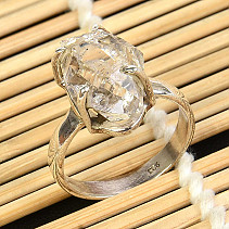 Crystal herkimer ring Ag 925/1000 size 59 5,4g